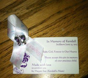 Memorial Pin and ribbon with card